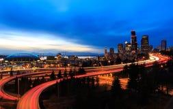 黄昏的西雅图 免版税库存图片
