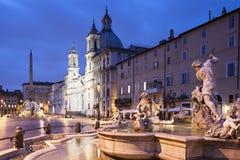 黄昏的,罗马纳沃纳广场 免版税库存图片