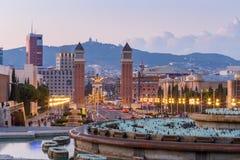 黄昏的巴塞罗那西班牙 免版税库存照片