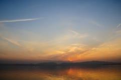 黄昏的Dianchi湖 库存图片