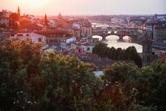 黄昏,佛罗伦萨接触  免版税库存照片