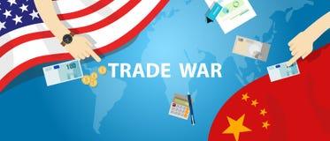 贸易战美国中国关税企业全球性交换国际性组织 向量例证