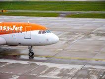 易捷航空飞机,瑞士苏黎士 免版税图库摄影