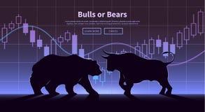 贸易的横幅 牛市与熊市 免版税库存图片