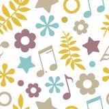 星、笔记和叶子的轻的无缝的样式 免版税图库摄影