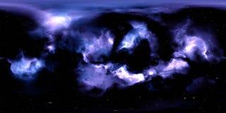 星云和星在外层空间360度环境全景 免版税图库摄影