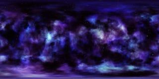 星云和星在露天场所360度球状全景 免版税图库摄影