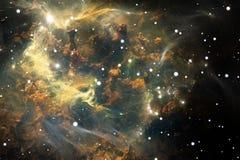 星云 气体和尘土云彩阻拦遥远的星光  向量例证