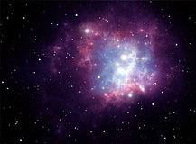 星云紫色空间星形 免版税库存图片