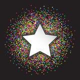 星和圈子五彩纸屑 免版税库存图片