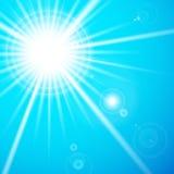 星和太阳与透镜火光。 免版税图库摄影