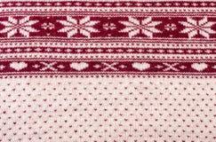 星和心脏冬天样式纹理的被编织的开士米样式 库存图片
