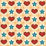 星和心脏的样式 免版税库存图片