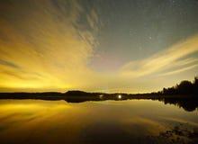 星和日落在芬兰 森林地平线的反射在镇静水中 库存图片