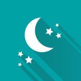 星和月牙在蓝色背景 免版税库存图片