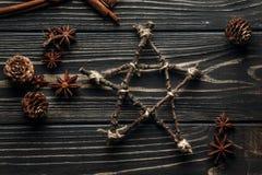 星和茴香和杉木锥体时髦的土气冬天舱内甲板位置  库存照片