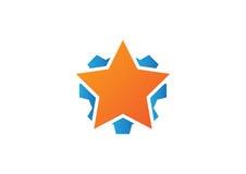 星和齿轮商标象 免版税库存图片