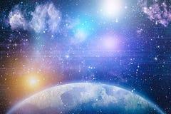 星团和小精灵尘土闪烁间隔背景 空间星和行星概念性图象 免版税库存照片