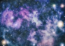 星团和小精灵尘土闪烁间隔背景 空间星和行星概念性图象 库存图片