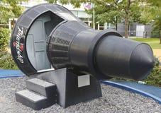 水星在显示的友谊7胶囊在NY科学火箭队公园霍尔  免版税库存照片