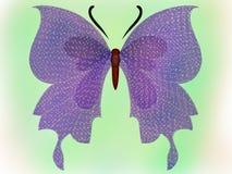 星在绿色背景的飞过的蝴蝶 库存例证