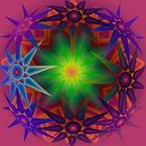 星在蓝色、桔子、绿色和黄色的万花筒坛场在黑暗的桃红色背景 皇族释放例证