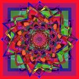 星大丽花花坛场,在红色,蓝色,绿色,黄色,紫色,紫罗兰色,几何背景中 皇族释放例证