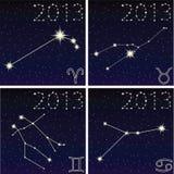 星座白羊星座,金牛座,双子星座,巨蟹星座 库存图片