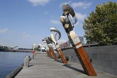 星座雕塑布鲁斯阿姆斯特朗和杰弗里Bartlet在墨尔本 免版税图库摄影