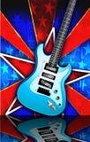 星形破裂了蓝色岩石吉他例证 库存图片