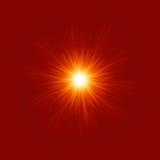 星形破裂的红色和黄色火。 EPS 8 免版税库存图片