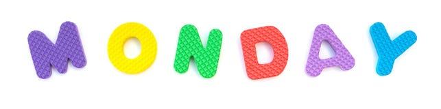 星期一的词由字母表七巧板塑造了 库存图片