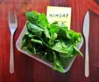 星期一膳食概念 与菠菜叶子的Tupperware 免版税库存图片