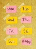 星期与修稿带的笔记 免版税库存照片