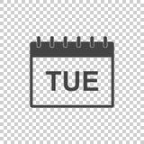 星期二日历页图表象 简单的平的图表为 库存图片