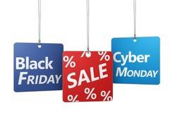 黑星期五和网络星期一销售 库存照片