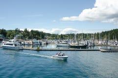 星期五港口的小游艇船坞在圣胡安海岛上 库存图片