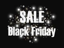黑星期五销售背景 销售和折扣 与明亮的光闪光的黑背景  向量 库存照片