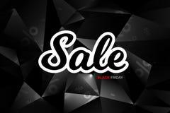 黑星期五销售装饰有抽象多角形背景 增进设计模板 免版税库存图片