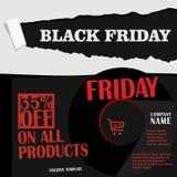 黑星期五,大销售,在平的设计的创造性的模板 向量例证