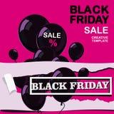 黑星期五,销售,与黑发光的气球的海报在平的设计的桃红色背景 皇族释放例证