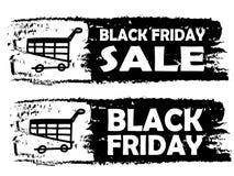 黑星期五-与推车的被画的横幅 免版税库存照片