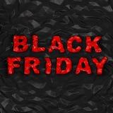 黑星期五& x28; 购物折扣创造性的concept& x29; 红色弄皱在翘曲的多角形黑背景的文本 免版税库存图片