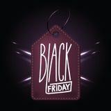 黑星期五购物的优质黑暗的紫色皮革徽章 皇族释放例证