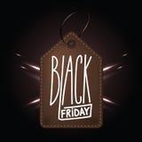 黑星期五购物的优质黑褐色皮革徽章 库存例证