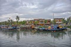 星期四BÃ ² n河在会安市,越南 库存图片