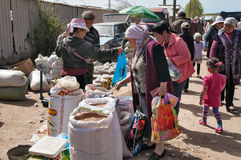 星期天市场在Bosteri 伊塞克湖 吉尔吉斯斯坦 免版税库存照片