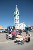 星期天市场在El女低音镇,拉巴斯地区,玻利维亚 库存照片