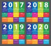 从星期天开始的颜色日历2017年 库存照片