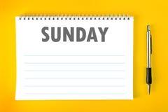 星期天日历日程表空白页 免版税库存照片